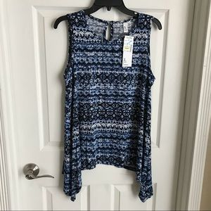 LG Shark Bite Sleeveless Blouse NWT